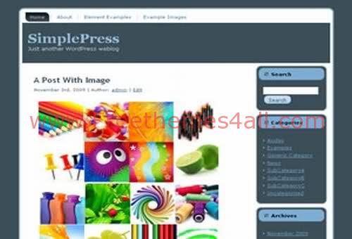 Free WordPress Theme SimplePress Elegant Template