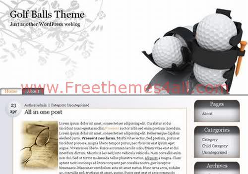 Free WordPress Golf Balls Web2.0 Theme Template