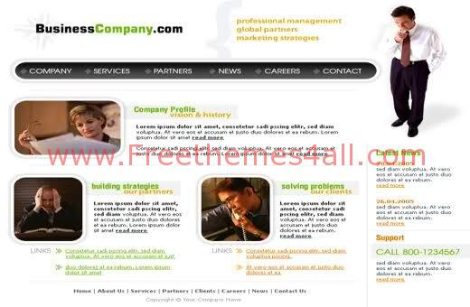Free Web Business Company Green Template