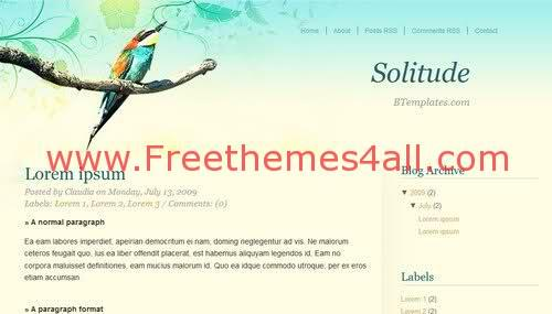 Free Blogger Parrot Birds Nature Web2.0 Template