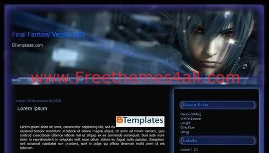 Free Blogger Blue Final Fantasy 2 Template