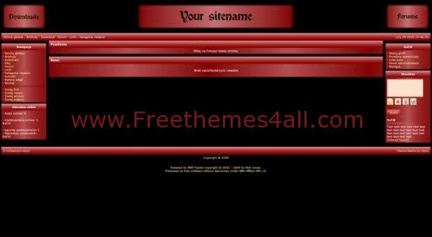 Free php-fusion Dark Red Black Center Web2.0 Theme Template