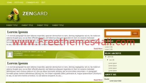 Free Blogger Zengard Green Technology Web2.0 Template