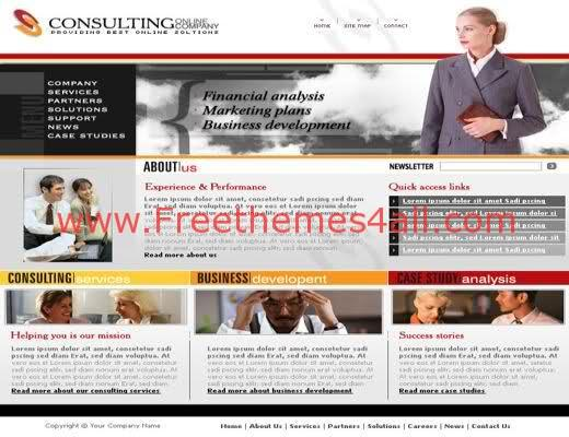 Free html consulting brown website template freethemes4all for Consulting website
