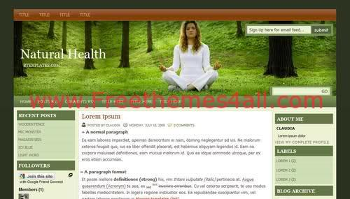 Free Blogger Sexy Natural Health Web2.0 Template