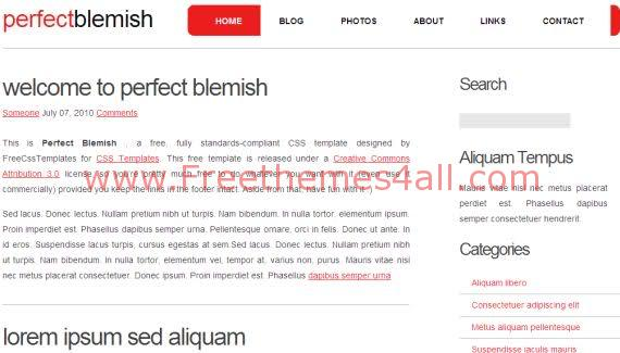 Free CSS Perfect White Red Website Template
