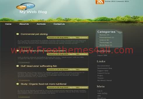 Free WordPress Forest Garden Web2.0 Theme Template