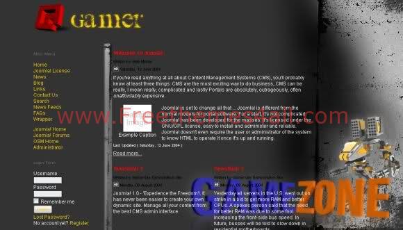 Free Joomla Gamers Black Flash Web2.0 Template