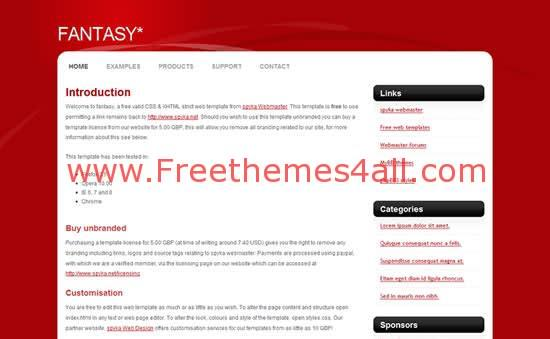 Free CSS Fantasy Red Web2.0 Template