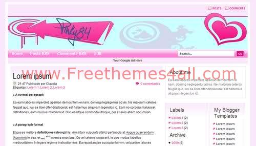 Free Blogger Pink Love White Girls Web2.0 Template