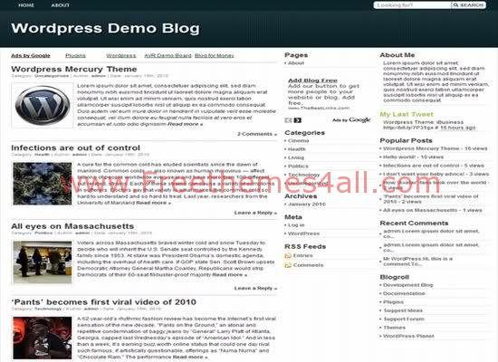 Free WordPress Mercury White Theme Template