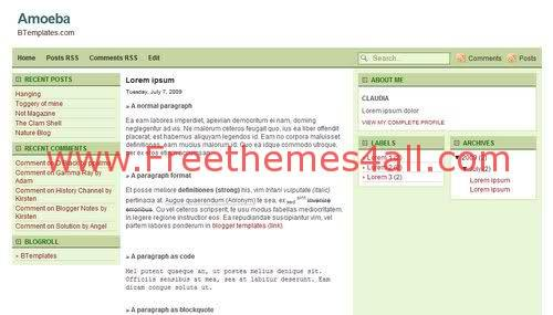 Free Blogger Professional Business Green Template
