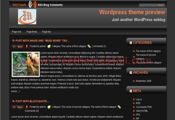Free WordPress Dark Light Black Web2.0 Theme