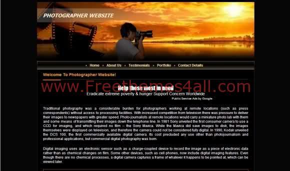 Free CSS Black Sunset Photos Website Template