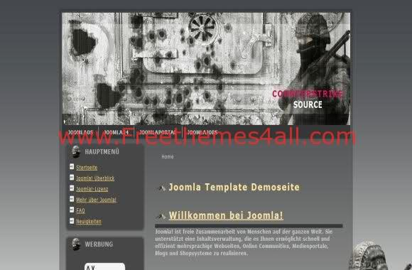 Free Joomla CounterStrike Games Web2.0 Theme Template
