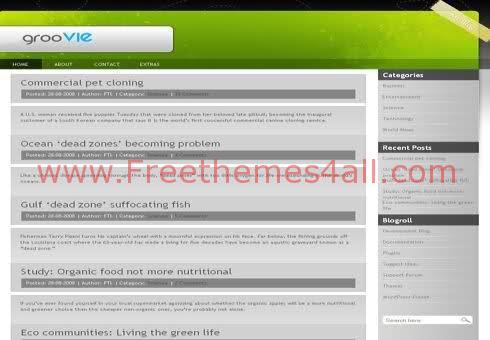 Free WordPress Gray Green Groovy Web2.0 Theme Template