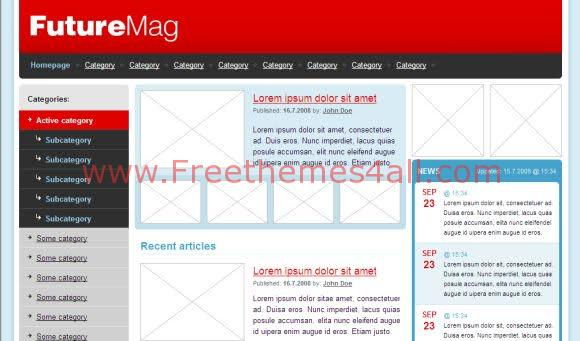 Free HTML Web Magazine Blank Red Web2.0 Template