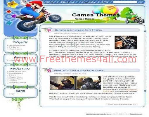 Free WordPress Super Mario Games Web2.0 Theme