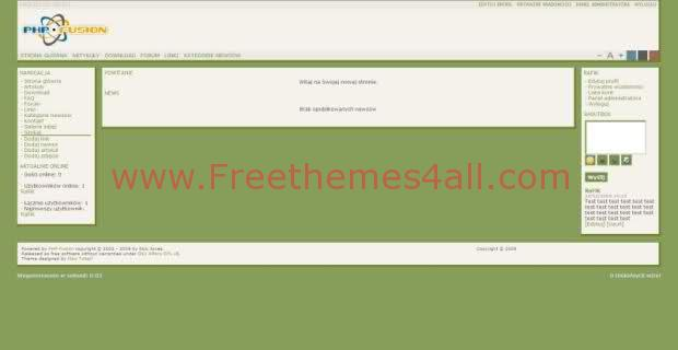 Free php-fusion 7 White Green Web2.0 Theme Template