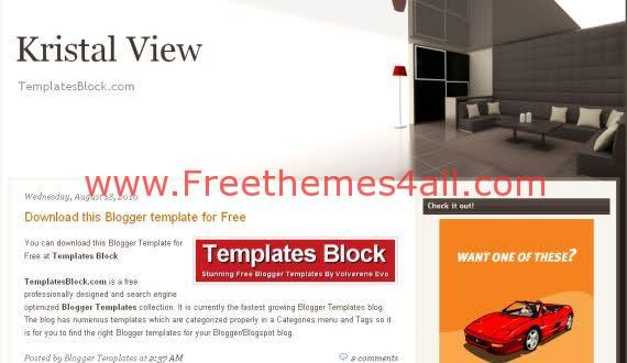 Free Blogger Kristal View Home Design Template
