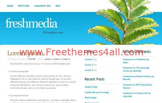 Free Blogger Fresh Media Blue Web2.0 Template