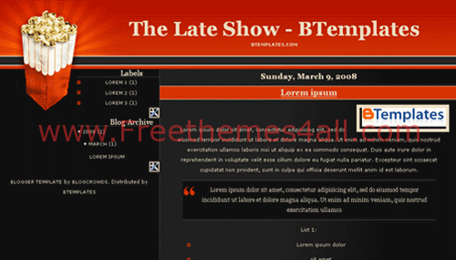 Free Blogger Movies Show Red Black Template