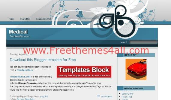 Free Blogger Medical Blue White Vector Template