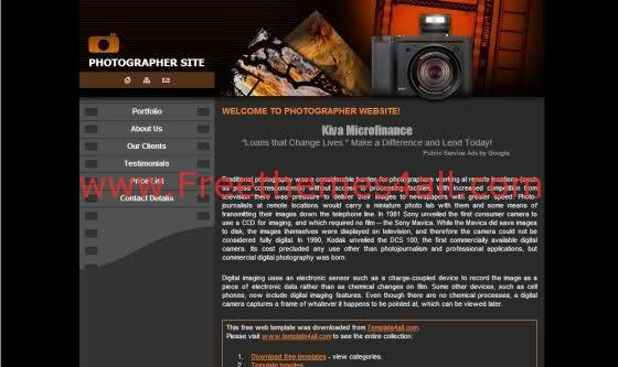 Free CSS Photography Website Lab Template