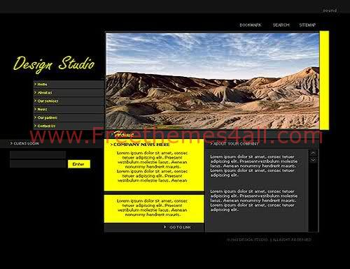 Free Flash Yellow Design Studio Web2.0 Template