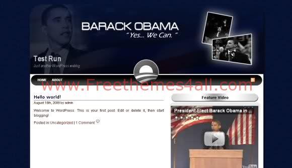 Free WordPress Obama Dark Blue Theme Template