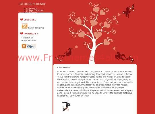 Free Blogger Hearts Tree Red Web2.0 Template