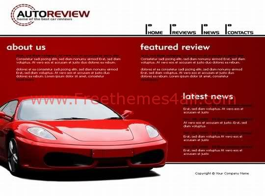 Free Flash Auto Review Red Website Template