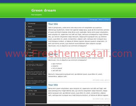 Green Dream - Free XHTML/CSS Theme Template
