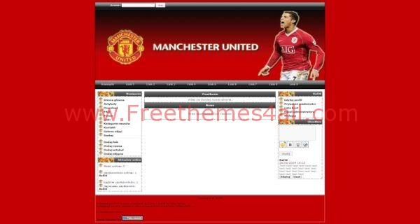 Free Php Fusion Manchester United Soccer Theme