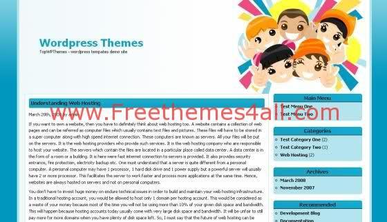 Free WordPress Simple Bleu Kids Theme