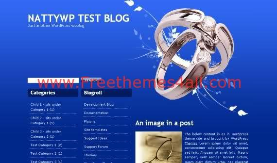 Free WordPress Blue Jewelry Web2.0 Theme Template