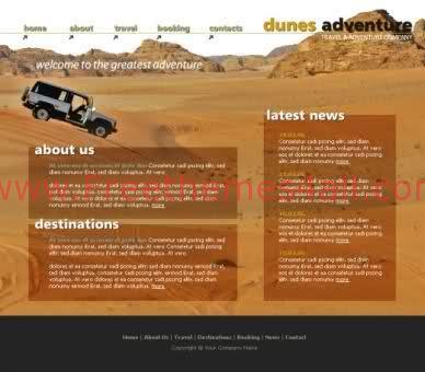 Free HTML Desert Dune Racing Web2.0 Template
