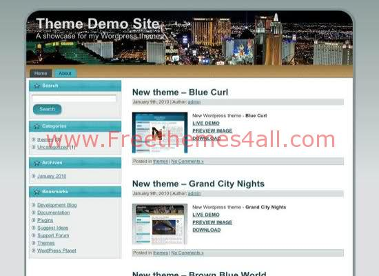City Night Blue WordPress Theme