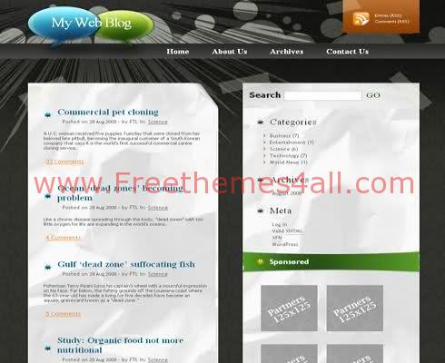 Free WordPress Black Cercles Web2.0 Theme Template