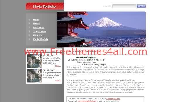 Free CSS Travel Photography Website Template