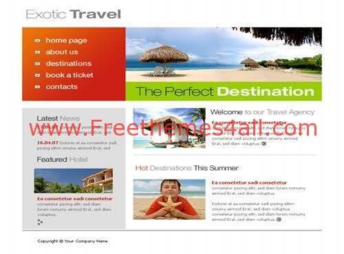 Free Flash Exotic Travel Company Sea Template