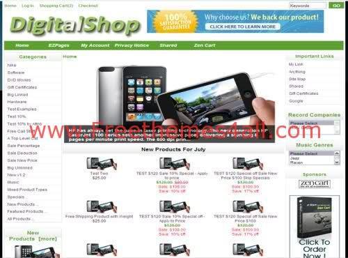 DigitalShop Green ZenCart Template