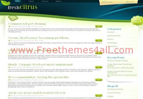 Free WordPress Fresh Nature Green Web2.0 Theme Template