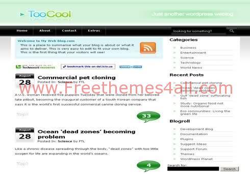 Free WordPress Fresh Green Web2.0 Theme Template