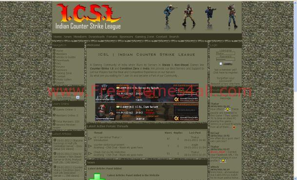 Free Counter Strike Game Green Php-fusion Theme