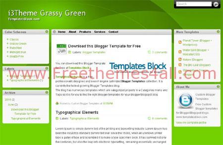 Free Grassy Green Web2.0 Blogger Template