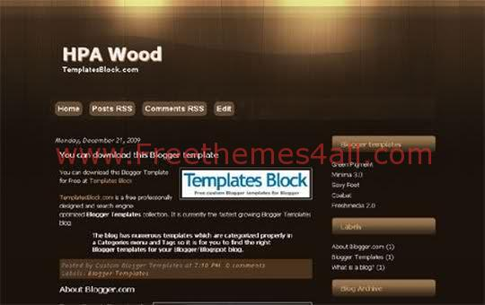 Free Blogger HPA Wood Chocolate Template