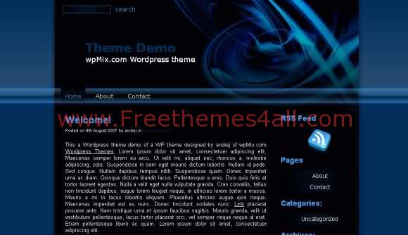 Free WordPress Blue Black Ring Web2.0 Theme