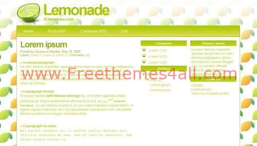 Free Blogger Green Lemonade Web2.0 Template