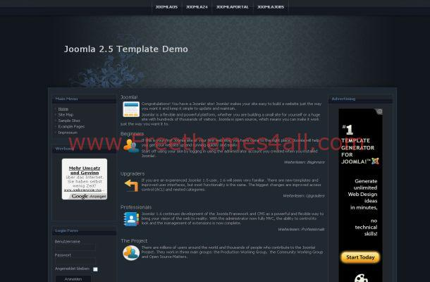 Floral Blue Black Web2.0 Joomla Theme Template